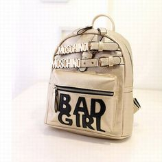 Moschino Bad Girl Leather Backpack Gold