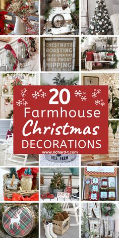 20 Amazing farmhouse Christmas decorations you need to see! These farmhouse Christmas decorations are so beautiful! Frugal Christmas, Christmas Porch, Farmhouse Christmas Decor, Homemade Christmas Gifts, Country Christmas, Simple Christmas, Christmas Projects, Holiday Crafts, Christmas Holidays