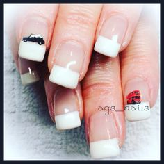 Gel nails white French British taxi cab double-decker bus