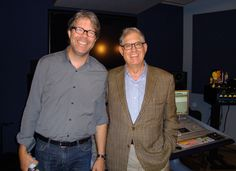 Jonathan Franzen (l.) was in the Macmillan Audio studio on June 2 with his longtime editor, Jonathan Galassi, to record a bonus interview for the audiobook of his forthcoming novel, 'Purity' (FSG).