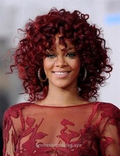 Adorable Rihanna Medium Length Red Curly Hairstyle (I WANT this color here! and I think it's doable too   )  The post  Rihanna Medium Length Red Curly Hairstyle (I WANT this color here! and I  ..