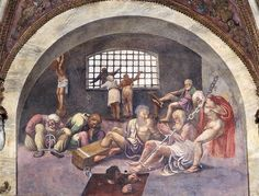 Scene showing that those born under the sign of Sagittarius in conjunction with the setting constellation of Arcturus will be led to commit grave crimes, symbolised by shackled prisoners, from the Camera dei Venti, 1528 by Giulio Romano