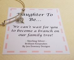 Daughter To Be Welcome to the Family Tree Gift Sterling Silver Tree Bangle for sale Daughter In Law Quotes, Daughter In Law Gifts, Bangle Bracelets With Charms, Wedding Bracelets, Welcome To The Family, Felt Hearts, Family Gifts, Wedding Engagement, Sterling Silver