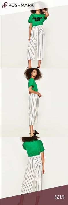 "NWOT Zara Cropped Stripe Culottes Palazzo Trousers High waist trousers with gathered elastic waistband in the back and tied belt. Item is nwot   HEIGHT OF MODEL: 178 cm. / 5′ 10″  96% polyester 4% elastic   Waist: 13"" Length: 34"" Inseam: 20""  B1 Zara Pants Ankle & Cropped"