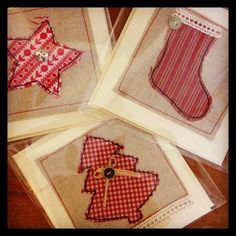 How to make Christmas cards from fabric and free motion embroidery....