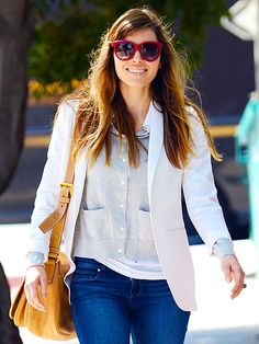 Jessica Biel, giving me weekend wardrobe inspiration and major shade envy.