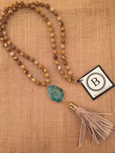 Betsy Pittard Brown Beads with Turquoise Stone and Leather Tassel Necklace