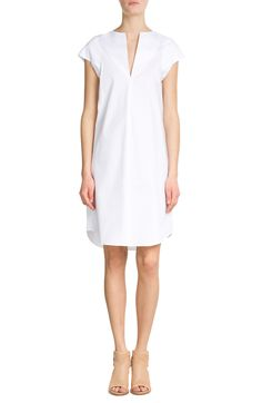 Jil Sander Navy Stretch Cotton Dress & RAG & BONE Perforated Leather Open Toe Sandals
