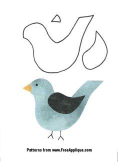 24 Bird Patterns - Free Bird Quilt Patterns for Applique Free Applique Patterns, Applique Tutorial, Applique Templates, Sewing Appliques, Bird Patterns, Applique Designs, Owl Templates, Felt Patterns, Bird Applique