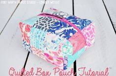 Quilted Box Pouch, mini charm pack, lining and a 9 inch zipper