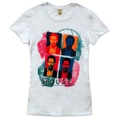 House M.D. Gregory Warhol Art White Juniors T-shirt