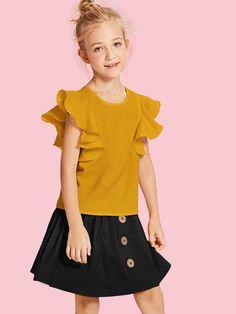 Blusa de niñas ribete fruncido sólida Fashion Sewing, Kids Fashion, Fall Outfits, Kids Outfits, Cute Dresses, Girls Dresses, Baby Dress Design, Kids Tops, Shirts For Girls