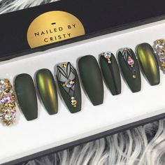 Matte Olive Green and Duochrome Press On Nails by NailedByCristy
