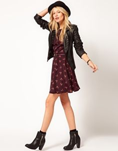Fox Print Skater Dress + jacket + hat