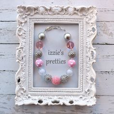 Pink and Silver Rhinestone Chunky Necklace by IzziesPretties
