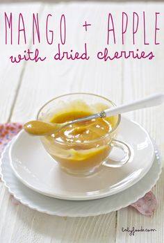 Mango + Apple with Dried Cherries Baby Puree Recipe. A happy puree that is loaded with Vitamin A, C and B, carotenoids and calcium!! A great puree to start the day. #organicbabyfoodrecipe #babyfoodrecipe babyfoode.com