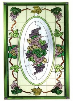 """Victorian GRAPEVINE Painted Tempered Glass Window 18x35 Purple Green Grapes by e-earth-exchange. $149.95. Made in the USA!!. PURCHASE by 12/15 for CHRISTMAS DELIVERY!* 18"""" x 35.5"""". Includes chain and hooks for immediate placement. Ships within 5 business days.. Painted Tempered Glass. PURCHASE by 12/15 for CHRISTMAS DELIVERY!* Like no other product, art glass delivers high visual impact! The rich, vibrant look of stained glass enhances every decor - whether a room is casual ..."""