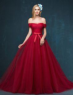 Formal+Evening+Dress+-+Burgundy+/+Silver+A-line+Off-the-shou...+–+USD+$+99.99