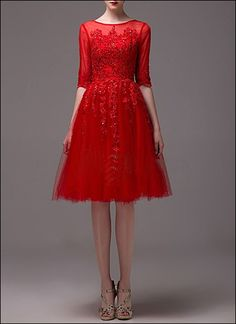 Pretty in red - gorgeous short cocktaildress, with fine embroidery and see-through sleeves