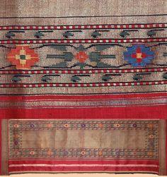 Antique Indian Textile, This Silk & Gold Brocade Sari Fragment made in Maharashtra in North India in North India , Circa 1800