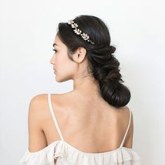 """Learn how to create this easy yet elegant layered twisted chignon adorned with BHLDN's """"Nova"""" circlet"""
