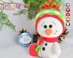 Crochet Pattern - Cute Snowman  Christmas Decoration (Amigurumi Toy)