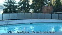 A swimming pool benefiting fully from Heatsavr, the liquid pool cover. Only 15 minutes after adding the product the pool stopped letting off steam - in the form of evaporation of course!