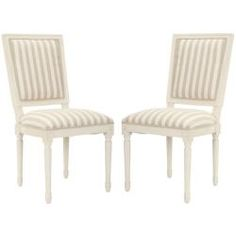 Provincial Carved Stripe Cream/ Grey Side Chairs (Set of 2)  Write a review  Today $349.99  Item #: 14159051    Overstock pair of french louis chairs upholstered in white/linen striped fabric.