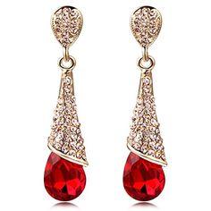 Calors Vitton Gold Plated Full Rhinestone Cubic Zircon Long Water Drop Earrings for Women Red 4705