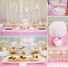 Adorable Pink & Girly Tea Party Birthdaytable cloth and place setting...super girlie.