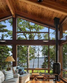 House Deck, House Roof, Four Seasons Room, Home Living Room, Acorn, Tiny House, Patio, Outdoor Decor, Lake Homes