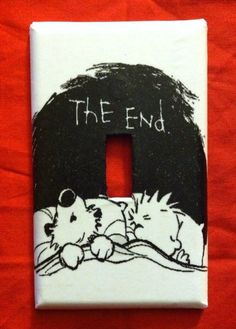 """Calvin and Hobbes """"good night"""" light switch cover"""