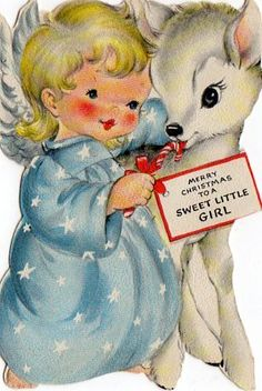 Merry Christmas to a sweet little girl. #vintage #Christmas #cards