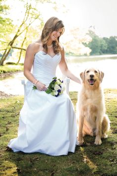 Love this portrait of the bride with her golden retriever! View more from this classy garden wedding inspiration in Memphis with gold and lavender details! Flowers by Lynn Doyle Flowers, images by 3Eight Photography | The Pink Bride® www.thepinkbride.com