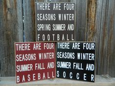 Baseball, Football sports Soccer Four seasons SPORTS wood sign by BuzzingBeesCrafts on Etsy https://www.etsy.com/listing/156844002/baseball-football-sports-soccer-four