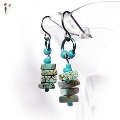 Turquoise Dangle Earrings - Turquoise, Blue, Green Magnasite Gemstones - Hypoallergenic Surgical Steel Ear Wires - Rustic Boho Handmade Beaded Drop Earrings - Gift for Women - For Sensitive Ears - Wedding earings (*Amazon Partner-Link)