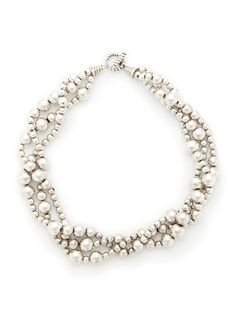 Tiffany & Co. Silver Triple Strand Bead Necklace by Estate Jewelry at Gilt