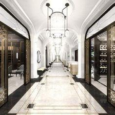 Ideas Art Deco Hotel Lobby Floors For 2019 Lobby Design, Design Hotel, Art Deco Hotel, Hotel Decor, Wellesley Hotel, Interiores Art Deco, Hotel Corridor, Luxury Collection Hotels, Luxury Hotels