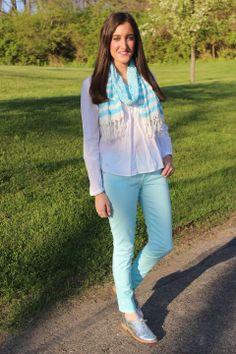 Sam Edelman Metallic Oxfords with Gap Baby Blue Legging Jeans & Francesca's striped scarf