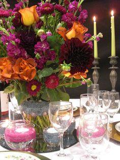 Gorgeous! Deco Dots ™ Floral Tablescape  #gorgeous #candlelight #tablescape