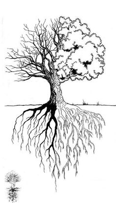The tree is not completely full because it represents the other branches - The tree is not completely full because it represents the other branches - Nature Tattoos, Life Tattoos, Body Art Tattoos, Sleeve Tattoos, Tree Drawing Simple, Roots Tattoo, Tree Tattoo Designs, Celtic Tree Of Life, Tree Roots