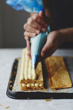 recipe taken from John Whaite Bakes At Home - Patisserie recipe - orange brûlée mille-feuille. Delicious way of using shop bought pastry