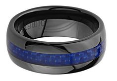 8mm Black and Blue Carbon Fiber Ring Crafted Out of High Tech Ceramic