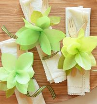 Floral napkin rings These blooming napkin rings double as brooches that guests can wear home. To make these napkin rings, download the printable instruction sheet and template.