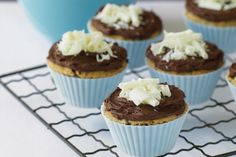 Pull out the tins and turn on the oven for these banana and chocolate cupcake treats.