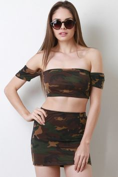 a48b62cd9e This two piece dress Army Print , short sleeve bardot neckline, crop hem, high  rise skirt and a mini length hem. As seen on fashion nova and necessary ...