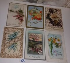 K 6 antique post cards with flowers early 1900s ephemera handwritten greeting lot postcards old paper scrap supplies vintage