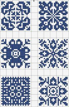 Blue tiles 04   Free chart for cross-stitch, filet crochet   gancedo.eu **TONS of filet patterns!!