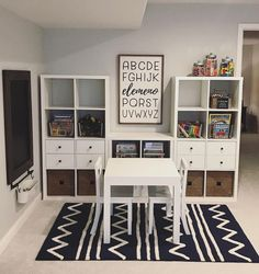 Kids room - How gorgeous is this playroom ! It's inspiring me to redo my kids play area too! And checkout our elemeno sign 😍 It was a custom size… Playroom Design, Playroom Decor, Kid Playroom, Modern Playroom, Basement Play Area, Kids Basement, Basement Bathroom, Modern Bedroom, Finished Basement Playroom