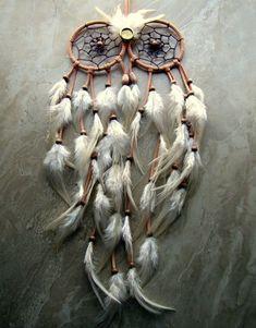 Buho sueño Catcher - atrapasueños de plumas de melocotón y marfil - gran buho Casa Decor